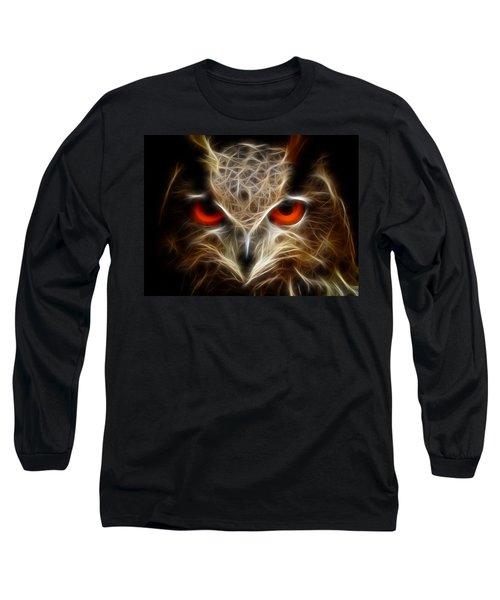 Owl - Fractal Artwork Long Sleeve T-Shirt