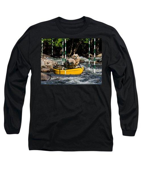 Owlets In A Canoe Long Sleeve T-Shirt by Les Palenik