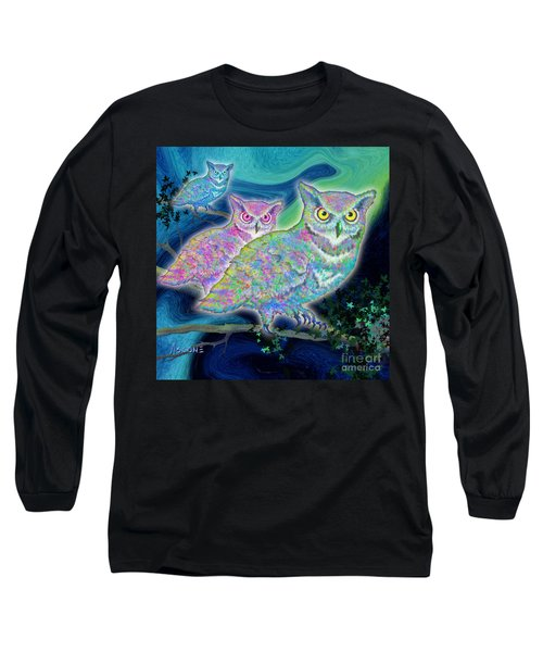 Long Sleeve T-Shirt featuring the painting Owls At Midnight  Square by Teresa Ascone