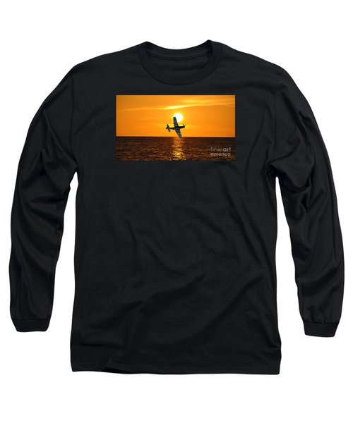 P-51 Sunset Long Sleeve T-Shirt by John Black