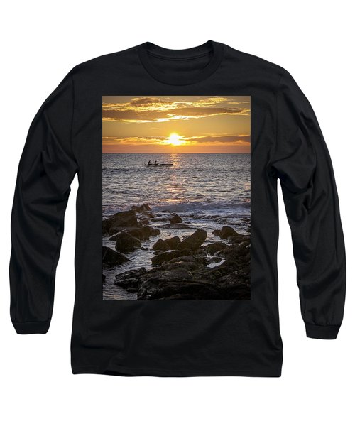 Paddlers At Sunset Portrait Long Sleeve T-Shirt by Denise Bird
