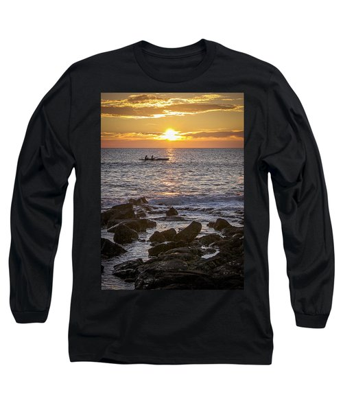 Paddlers At Sunset Portrait Long Sleeve T-Shirt