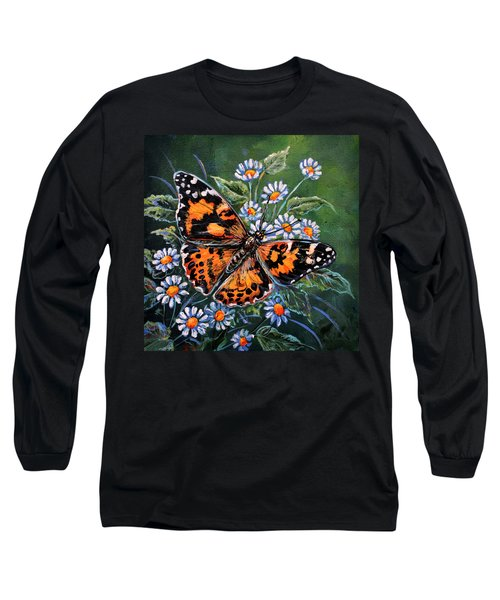 Painted Lady Long Sleeve T-Shirt by Gail Butler