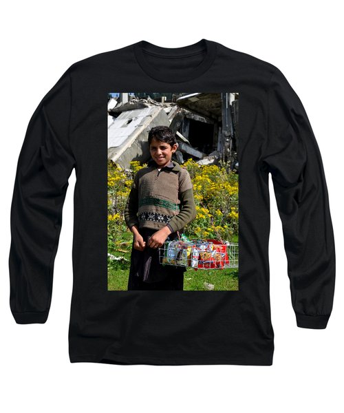 Long Sleeve T-Shirt featuring the photograph Pakistani Boy In Front Of Hotel Ruins In Swat Valley by Imran Ahmed