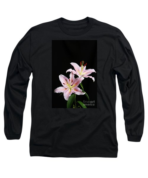Pale Pink Asiatic Lilies Long Sleeve T-Shirt by Judy Whitton