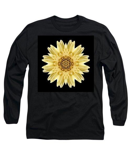 Pale Yellow Gerbera Daisy I Flower Mandala Long Sleeve T-Shirt