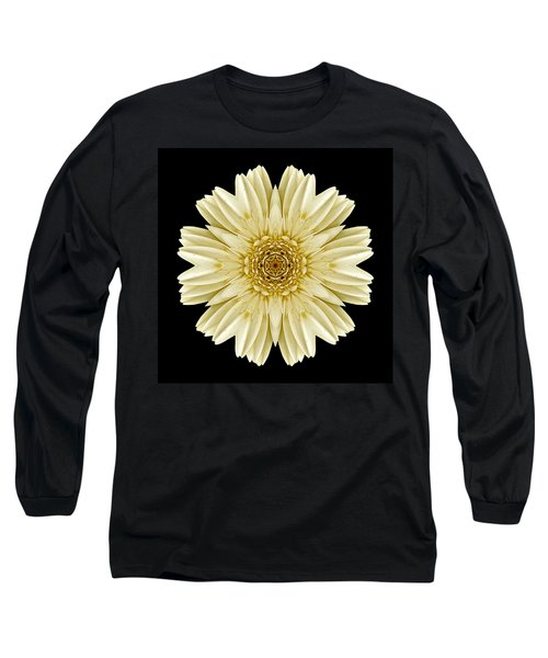 Long Sleeve T-Shirt featuring the photograph Pale Yellow Gerbera Daisy IIi Flower Mandala by David J Bookbinder
