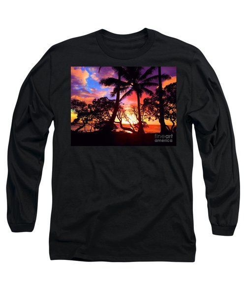 Long Sleeve T-Shirt featuring the photograph Palm Tree Silhouette by Kristine Merc