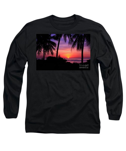 Palm Tree Sunset In Paradise Long Sleeve T-Shirt by Scott Cameron