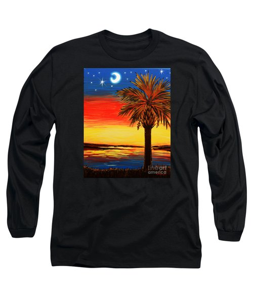 Palmetto Moon And Stars Long Sleeve T-Shirt by Patricia L Davidson