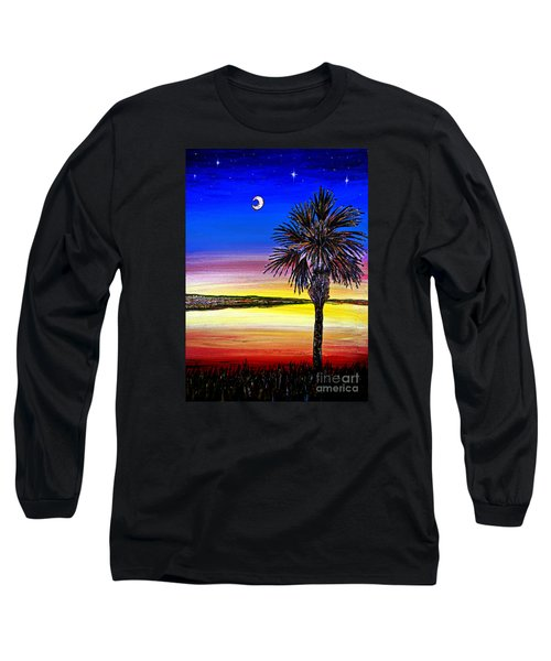 Palmetto Sunset Moon And Stars Long Sleeve T-Shirt by Patricia L Davidson
