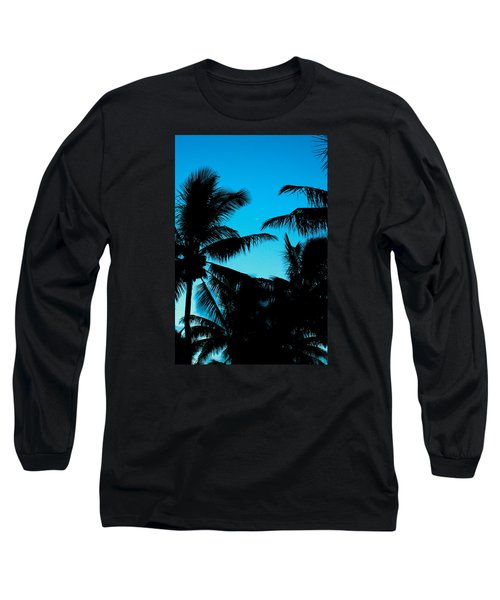 Palms At Dusk With Sliver Of Moon Long Sleeve T-Shirt by Lehua Pekelo-Stearns