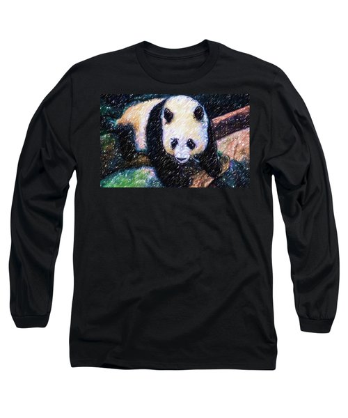Long Sleeve T-Shirt featuring the painting Panda In The Rest by Lanjee Chee
