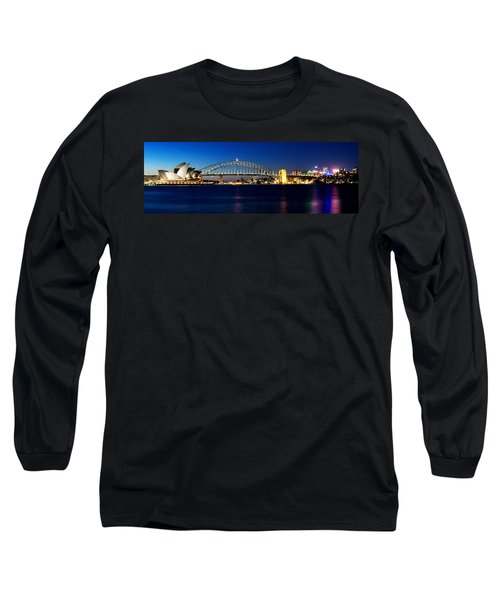 Long Sleeve T-Shirt featuring the photograph Panoramic Photo Of Sydney Night Scenery by Yew Kwang