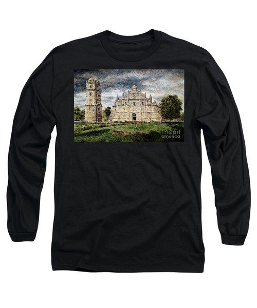 Paoay Church Long Sleeve T-Shirt by Joey Agbayani