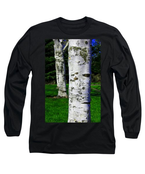 Nature Long Sleeve T-Shirt featuring the photograph Paper Birch Trees by Aaron Berg