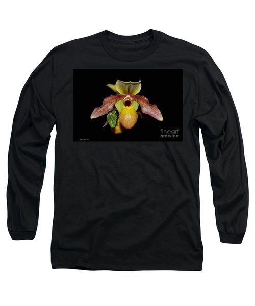 Long Sleeve T-Shirt featuring the photograph Paphiopedilum 'summer Ice' Orchid by Susan Wiedmann