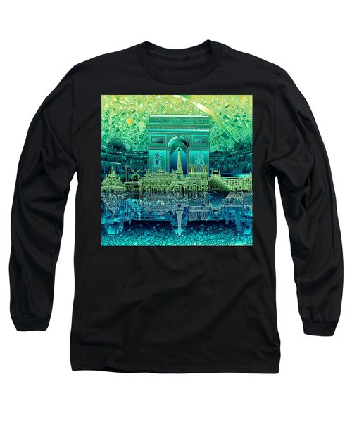 Paris Skyline Landmarks 6 Long Sleeve T-Shirt
