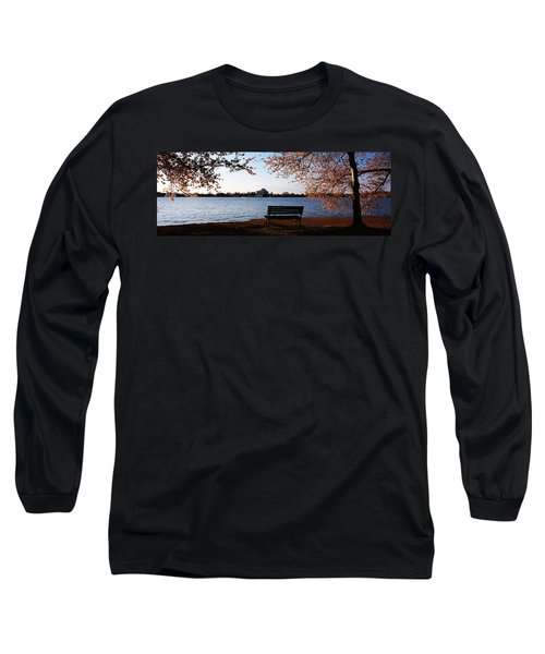 Park Bench With A Memorial Long Sleeve T-Shirt by Panoramic Images