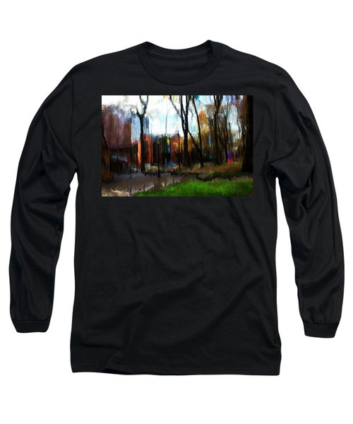 Long Sleeve T-Shirt featuring the mixed media Park Block I by Terence Morrissey