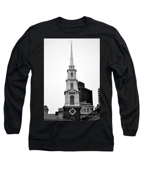 Park Street Church Boston Black And White Long Sleeve T-Shirt