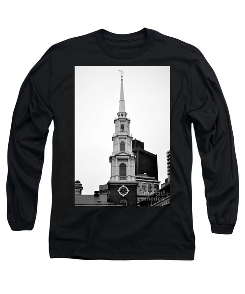 Park Street Church Boston Black And White Long Sleeve T-Shirt