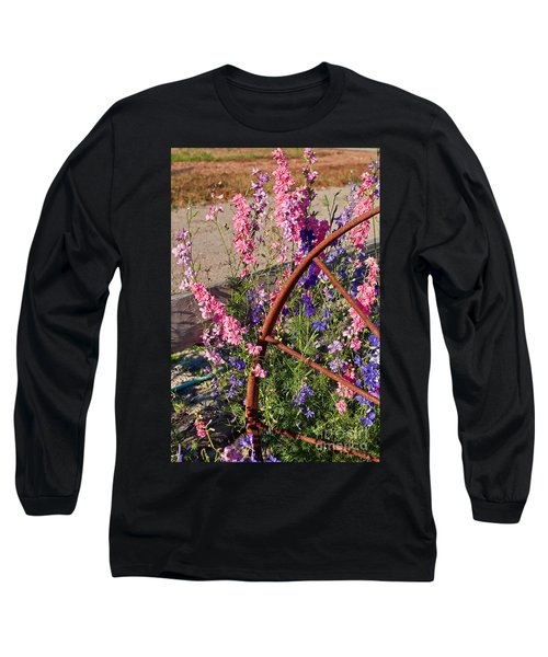 Pastel Colored Larkspur Flowers With Rusty Wagon Wheel Art Prints Long Sleeve T-Shirt