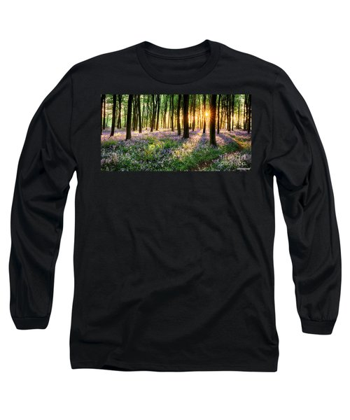 Sunrise Path Through Bluebell Woods Long Sleeve T-Shirt