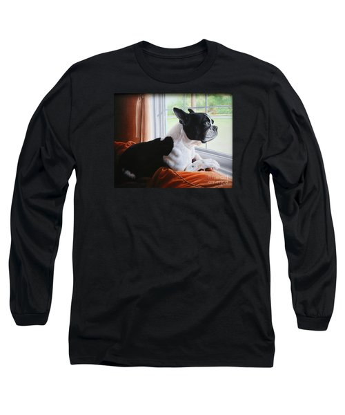 Long Sleeve T-Shirt featuring the painting Patiently Waiting by Mike Ivey