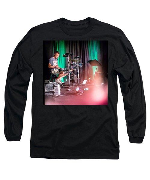 Paul Harvey, Drummer At Grace Long Sleeve T-Shirt by Aleck Cartwright