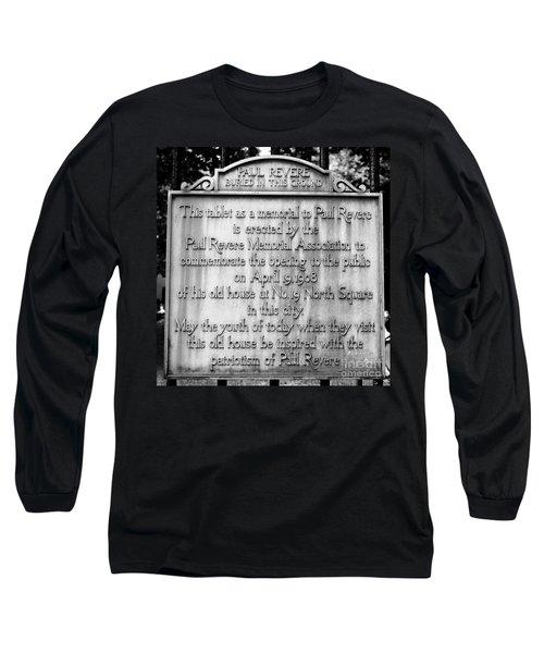 Paul Revere Burial Plaque Boston Massachusetts Long Sleeve T-Shirt