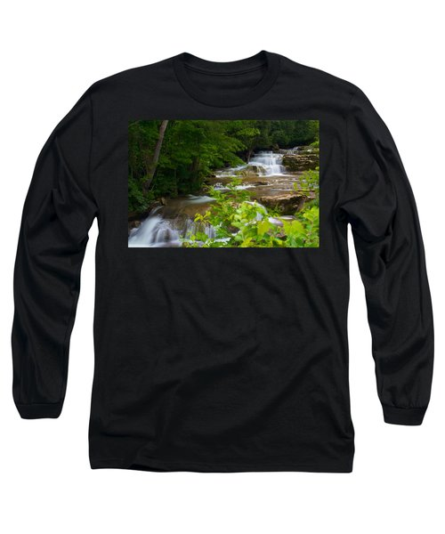 Long Sleeve T-Shirt featuring the photograph Peaceful Stockbridge Falls  by Dave Files