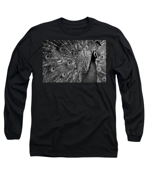 Long Sleeve T-Shirt featuring the photograph Peacock Bw by Ron White