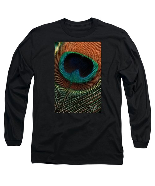 Peacock Feather Long Sleeve T-Shirt by Jerry Fornarotto