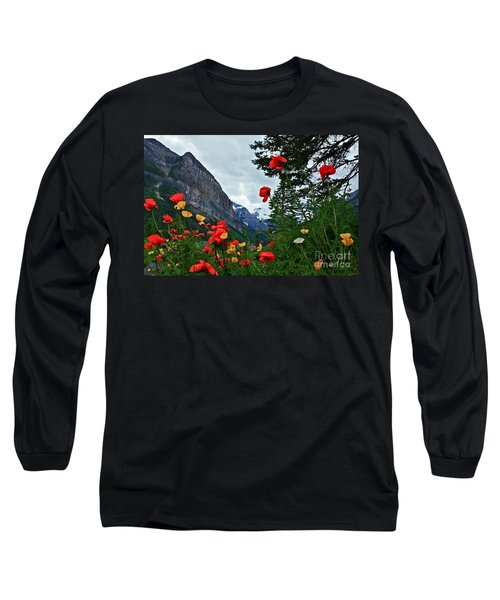 Peaks And Poppies Long Sleeve T-Shirt by Linda Bianic