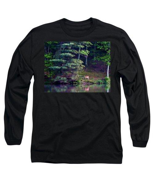 Long Sleeve T-Shirt featuring the painting Peaks Of Otter Deer by John Haldane