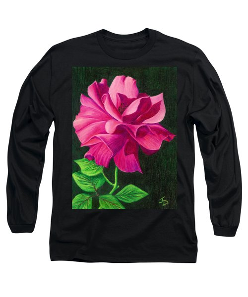 Long Sleeve T-Shirt featuring the drawing Pencil Rose by Janice Dunbar