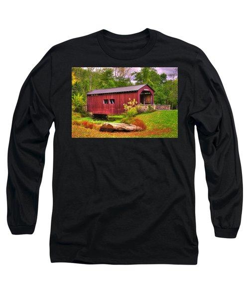 Pennsylvania Country Roads - Everhart Covered Bridge At Fort Hunter - Harrisburg Dauphin County Long Sleeve T-Shirt