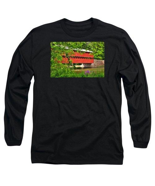 Pennsylvania Country Roads - Sachs Covered Bridge Over Marsh Creek-3b - Shade Of Spring Adams County Long Sleeve T-Shirt