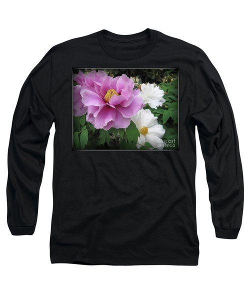 Peonies In White And Lavender Long Sleeve T-Shirt by Dora Sofia Caputo Photographic Art and Design