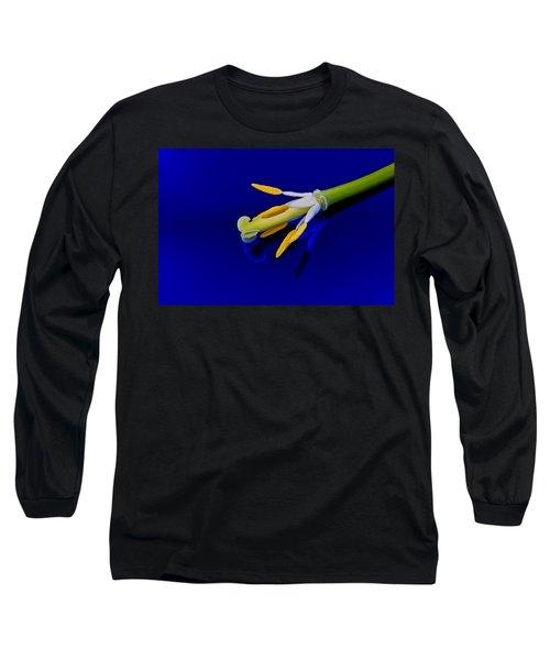 Petal-less Flower On Bright Blue Long Sleeve T-Shirt