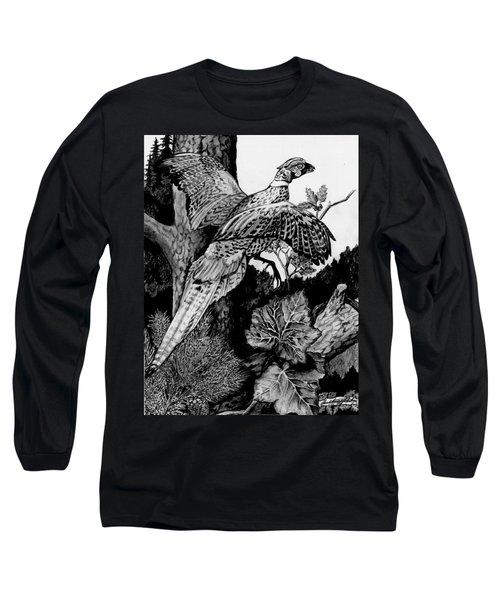 Pheasant In Flight Long Sleeve T-Shirt