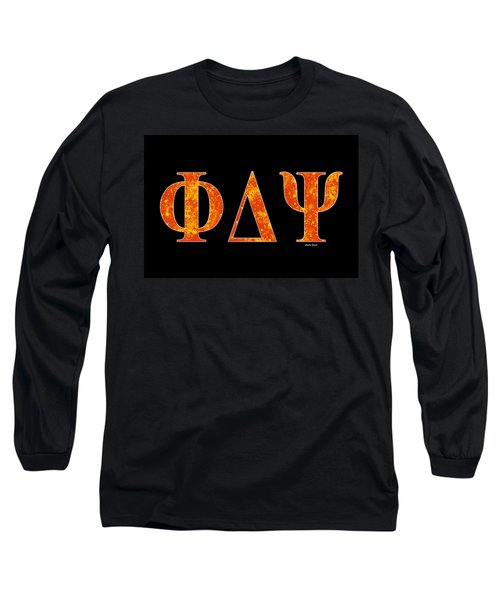 Long Sleeve T-Shirt featuring the digital art Phi Delta Psi - Black by Stephen Younts