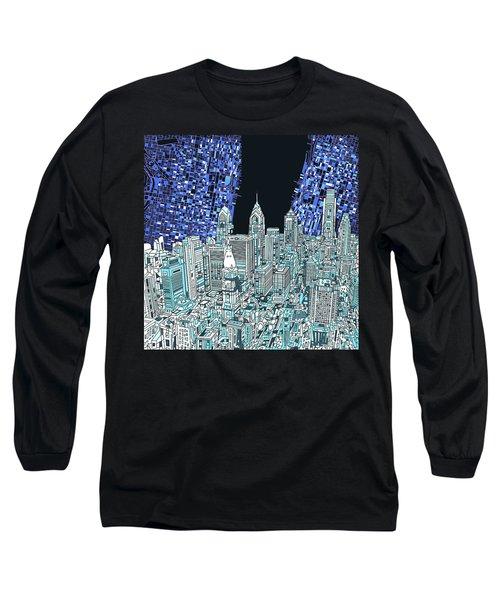 Philadelphia Map Panorama Long Sleeve T-Shirt