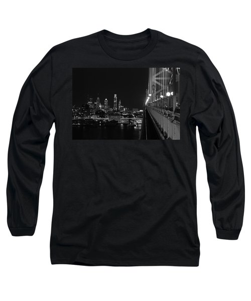 Philadelphia Night B/w Long Sleeve T-Shirt