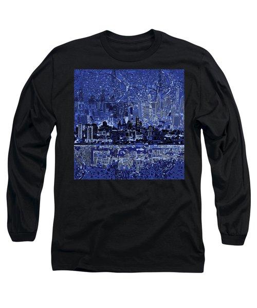 Philadelphia Skyline Abstract 2 Long Sleeve T-Shirt