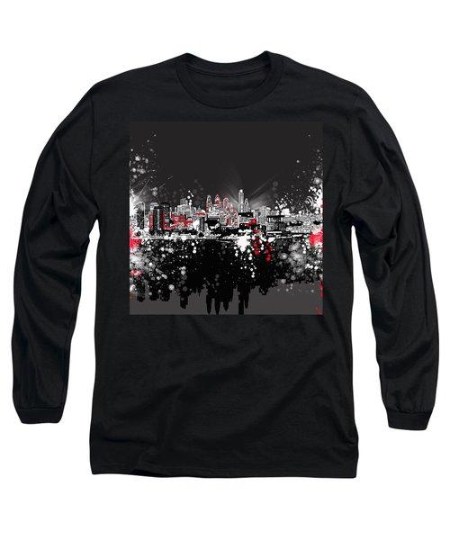 Philadelphia Skyline Abstract 5 Long Sleeve T-Shirt