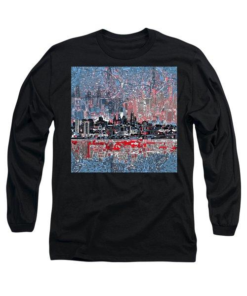 Philadelphia Skyline Abstract Long Sleeve T-Shirt