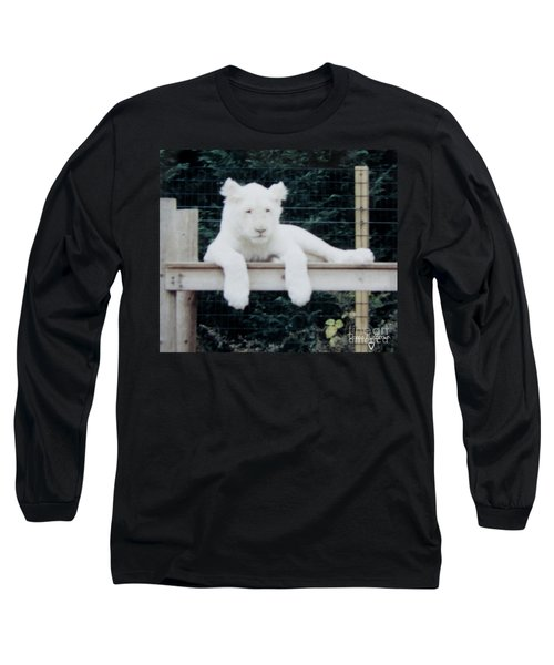 Long Sleeve T-Shirt featuring the photograph Philadelphia Zoo White Lion by Donna Brown