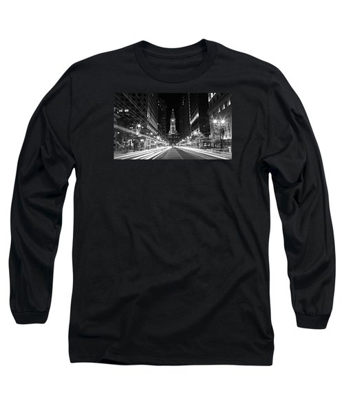 Philadephia City Hall -- Black And White Long Sleeve T-Shirt by Stephen Stookey